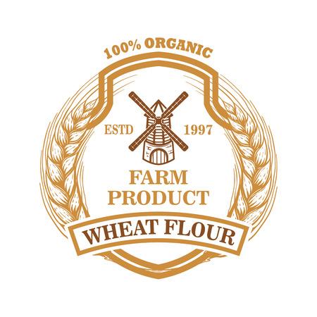 Weizenmehl-Etikettenschablone mit Windmühle. Gestaltungselement für Logo, Emblem, Schild, Poster, T-Shirt. Vektor-Illustration