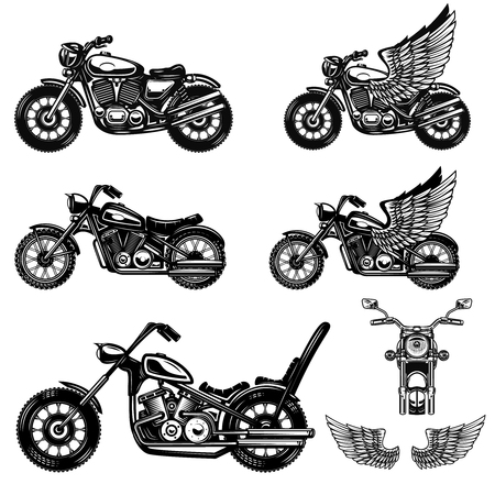 Set of motorcycle illustrations . Design element for logo, label, emblem, sign, poster. Vector image