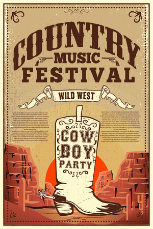 Country music festival poster. Party flyer with cowboy boots. Design element for poster, card, label, sign, card, banner. Vector image  イラスト・ベクター素材