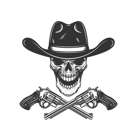 Cowboy skull with crossed revolvers. Design element for poster, card, label, sign, card, banner. Vector image