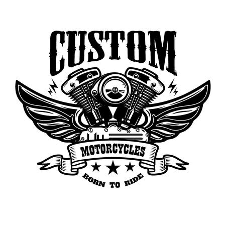 Emblem template with winged motorcycle motor. Design element for poster, logo, label, sign, t shirt. Vector illustration Illustration