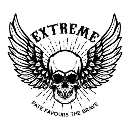 Extremo. Cráneo alado sobre fondo blanco. Elemento de diseño de logotipo, etiqueta, emblema, letrero, cartel. Ilustración vectorial