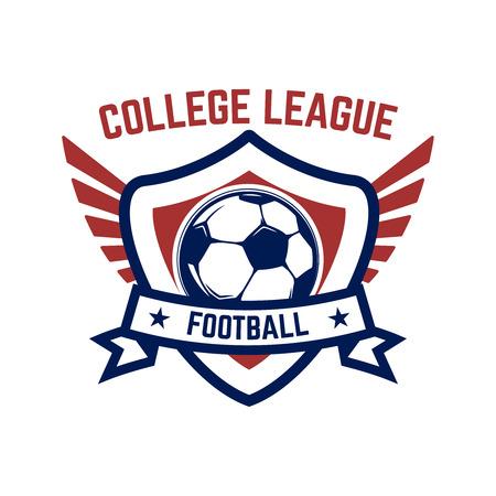Fußball, Fußballembleme. Gestaltungselement für Logo, Etikett, Emblem, Zeichen. Vektorillustration