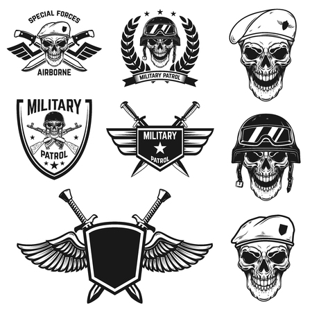Set of military emblems with paratrooper skull. Design element for poster, card, label, sign, card, banner. Vector image Ilustração