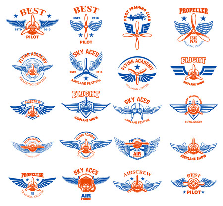 Set of vintage airplane emblems. Design elements for logo, label, sign, menu. Vector illustration Vettoriali