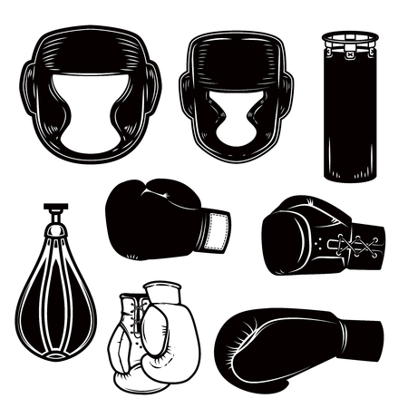 Set of boxing design elements. Boxer helmet, gloves, bags. Design element for logo, label, emblem, sign, poster. Vector image