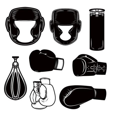 Set van boksen ontwerpelementen. Boxerhelm, handschoenen, tassen. Ontwerpelement voor logo, label, embleem, teken, poster. Vector afbeelding