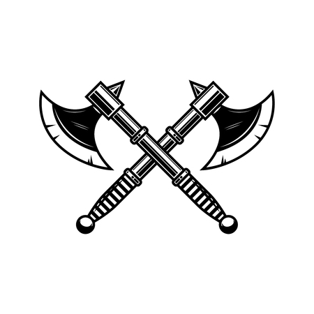 Crossed medieval axe. Design element for label, badge, sign. Vector illustration 向量圖像