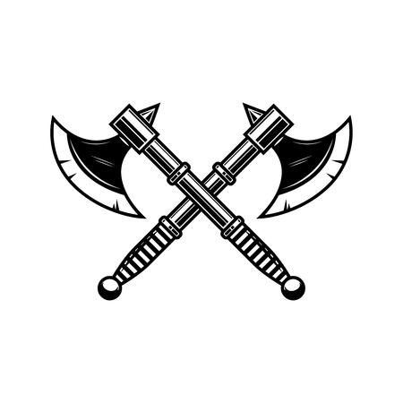 Gekreuzte mittelalterliche Axt. Gestaltungselement für Etikett, Abzeichen, Zeichen. Vektor-Illustration Vektorgrafik