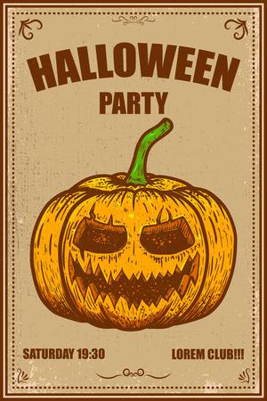 Cartel de fiesta de Halloween con calabaza. Ilustración vectorial