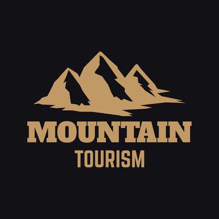 Mountain tourism. Emblem template with rock peak. Design element for logo, label, emblem, sign, poster. Vector illustration