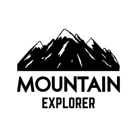 Mountain explorer. Emblem template with rock peak. Design element for logo, label, emblem, sign, poster. Vector illustration