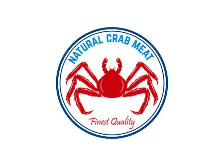 Fresh seafood. Emblem template with crab. Design element for logo, label, emblem, sign, poster. Vector illustration