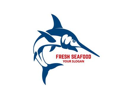 Fresh seafood. Emblem template with swordfish. Design element for logo, label, emblem, sign, poster. Vector illustration Foto de archivo - 110864563