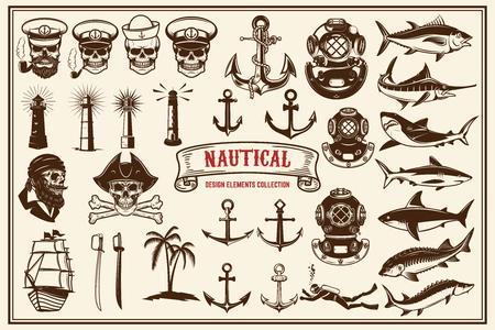 Grand ensemble d'éléments de conception pour les emblèmes nautiques, restaurant de fruits de mer. Illustration vectorielle.