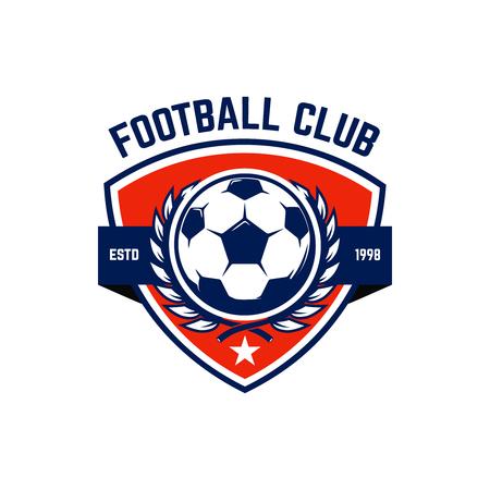 Calcio, emblemi di calcio. Elemento di design per logo, etichetta, emblema, segno. Illustrazione vettoriale
