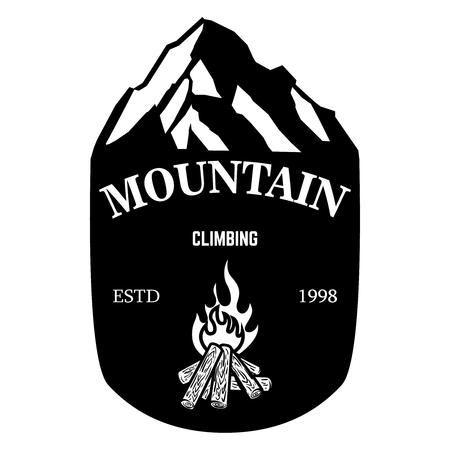 Mountain climbing. Emblem template with rock peak. Design element for logo, label, emblem, sign, poster. Vector illustration 일러스트