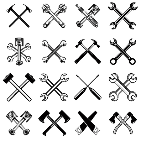 Set of crossed saws, hammers, pistons, wrench, axe. Design element for logo, label, emblem, sign. Vector illustration