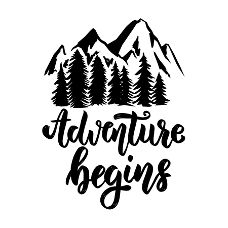 Adventure begins. Hand drawn lettering phrase with mountains. Design element for logo, label, emblem, sign, poster, t shirt. Vector illustration Ilustrace