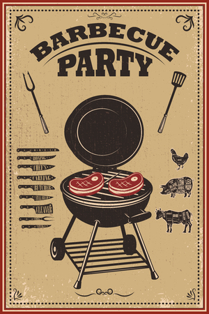 Bbq party poster. Barbeque and grill. Design element for card, banner, flyer. Vector illustration  イラスト・ベクター素材