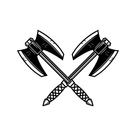 Crossed medieval axe. Design element for label, badge, sign. Vector illustration