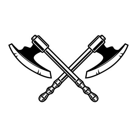 Crossed medieval axe. Design element for label, badge, sign. Vector illustration Illustration
