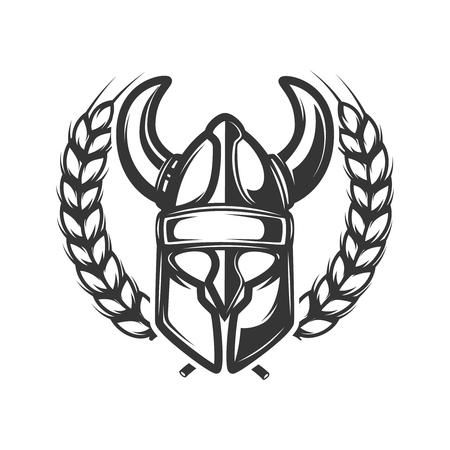 Emblem template with wreath and viking helmet. Design element for logo, label, emblem, sign. Vector illustration Illustration