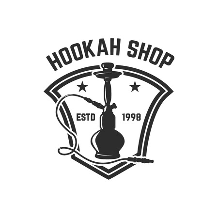 Hookah shop. Emblem template with hookah. Design element for logo, label, sign. Vector illustration Reklamní fotografie - 112980744