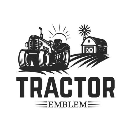 Mercato degli agricoltori. Modello di emblema con trattore. Elemento di design per logo, etichetta, emblema, segno. Illustrazione vettoriale
