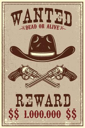 Wanted poster template. Cowboy hat and revolvers on grunge background. Design element for poster, card, banner, flyer. Vector illustration Ilustração