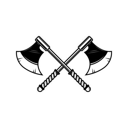 Hacha medieval cruzada. Elemento de diseño de etiqueta, insignia, letrero. Ilustración vectorial