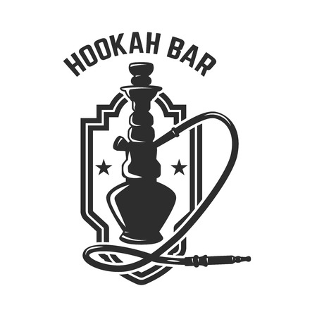 Hookah shop. Emblem template with hookah. Design element for logo, label, sign. Vector illustration Reklamní fotografie - 112980802
