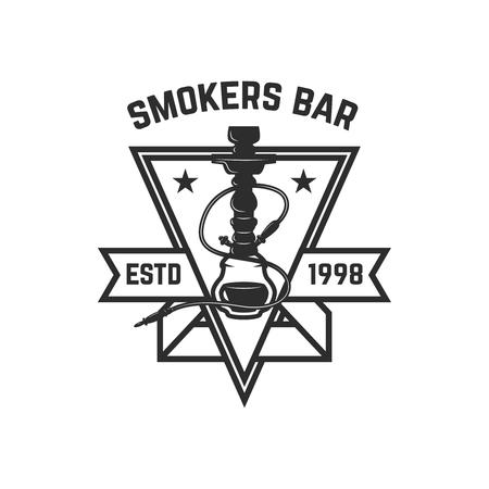 Shisha-Shop. Emblem-Vorlage mit Shisha. Gestaltungselement für Logo, Label, Zeichen. Vektor-Illustration Logo