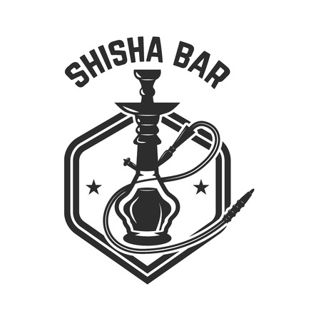 Hookah shop. Emblem template with hookah. Design element for logo, label, sign. Vector illustration Illustration