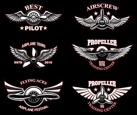 Set of vintage airplane emblems. Design elements for logo, label, sign, menu. Vector illustration Illustration
