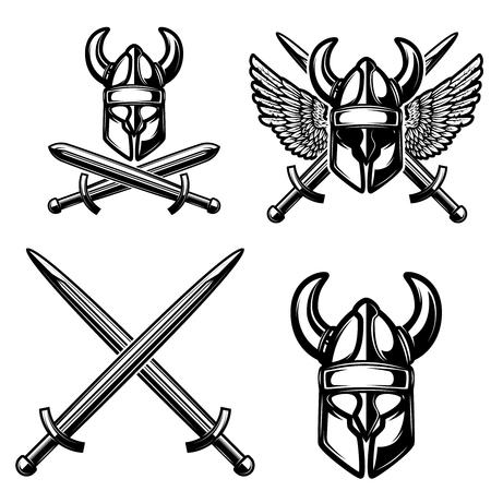 Set of emblem template with viking helmet, crossed swords. Design element for logo, label, sign. Vector illustration