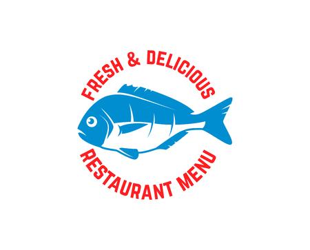 Fresh seafood. Emblem template with fish illustration. Design element for logo, label, emblem, sign, poster. Vector image