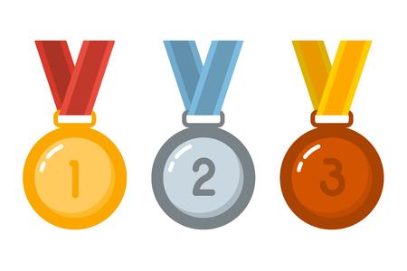 Medallas de oro, plata, bronce en estilo plano. Elemento de diseño de menú, cartel, emblema, letrero, banner, flyer. Ilustración vectorial