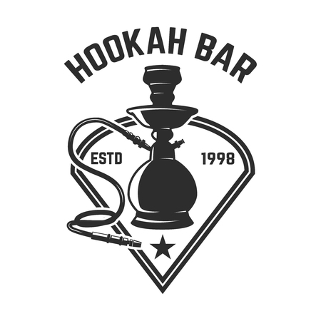 Hookah shop. Emblem template with hookah. Design element for logo, label, sign. Vector illustration Reklamní fotografie - 112980936