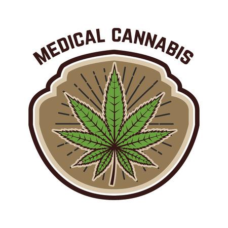 Medical marijuana. Emblem template with cannabis leaf. Design element for logo, label, emblem, sign. Vector illustration 向量圖像