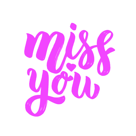 Miss you. Lettering phrase on light background. Design element for card, banner, poster. Vector illustration