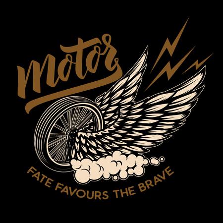 Racer winged wheel. Design element for poster, emblem, t shirt. Vector illustration