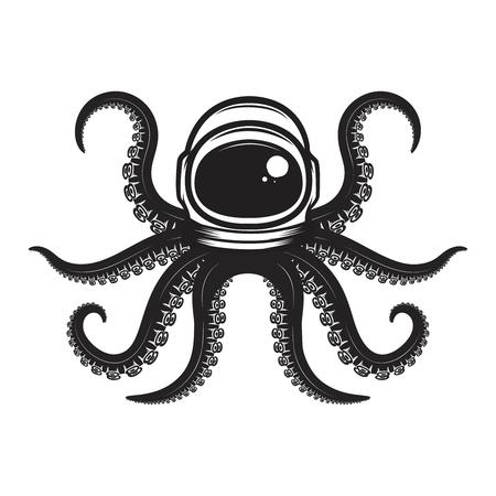 Octopus in spaceman helmet. Design element for poster, emblem, t shirt. Vector illustration Иллюстрация