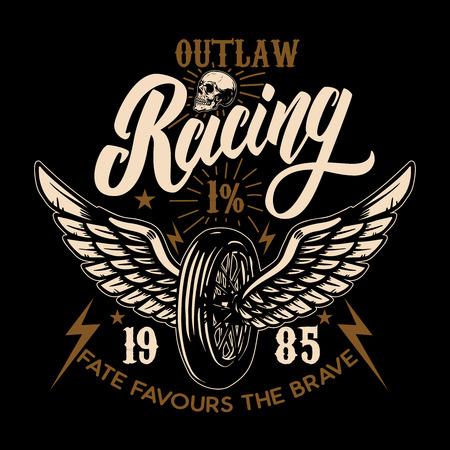 Custom motorcycles. Racer winged wheel. Design element for poster, emblem, t shirt. Vector illustration