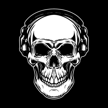 Skull in headphones on dark background. Design element for poster, card, emblem, sign.Vector illustration