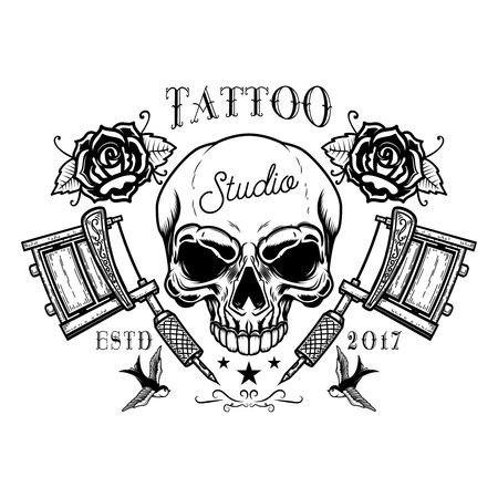 Tattoo studio emblem template. Crossed tattoo machine, skull, roses. Design element for logo, label, sign, poster, t shirt. Vector illustration
