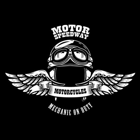 Emblem template with winged motorcycle racer helmet. Design element for poster, t shirt, sign, badge. Vector illustration