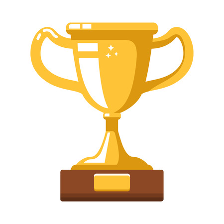Winner gold cup icon in flat style. Design element for poster, card, banner, site, flyer. Vector illustration  イラスト・ベクター素材