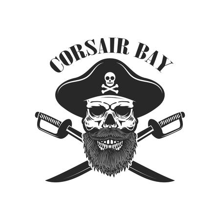Pirate skull with crossed sabers. Design elements for logo, label, sign, menu. Vector illustration