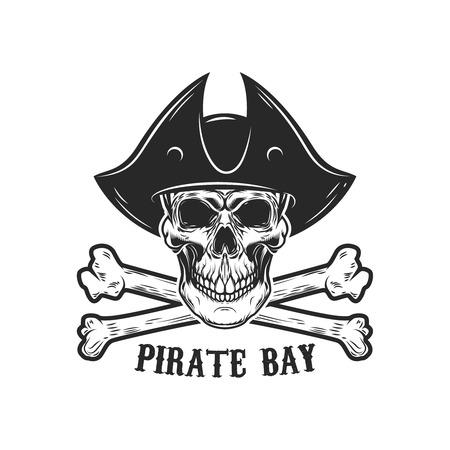 Pirate skull with crossbones. Design elements for logo, label, sign, menu. Vector illustration Illustration